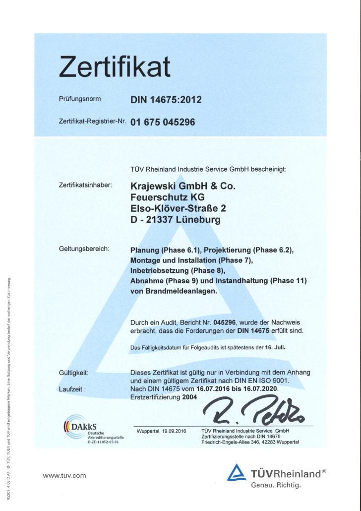 Errichter für Brandmeldeanlagen DIN 14 675