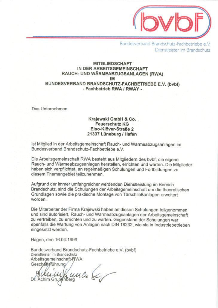 bvbf-Mitglied Arbeitsgemeinschaft Rauch-Wärmeabzugsanlagen