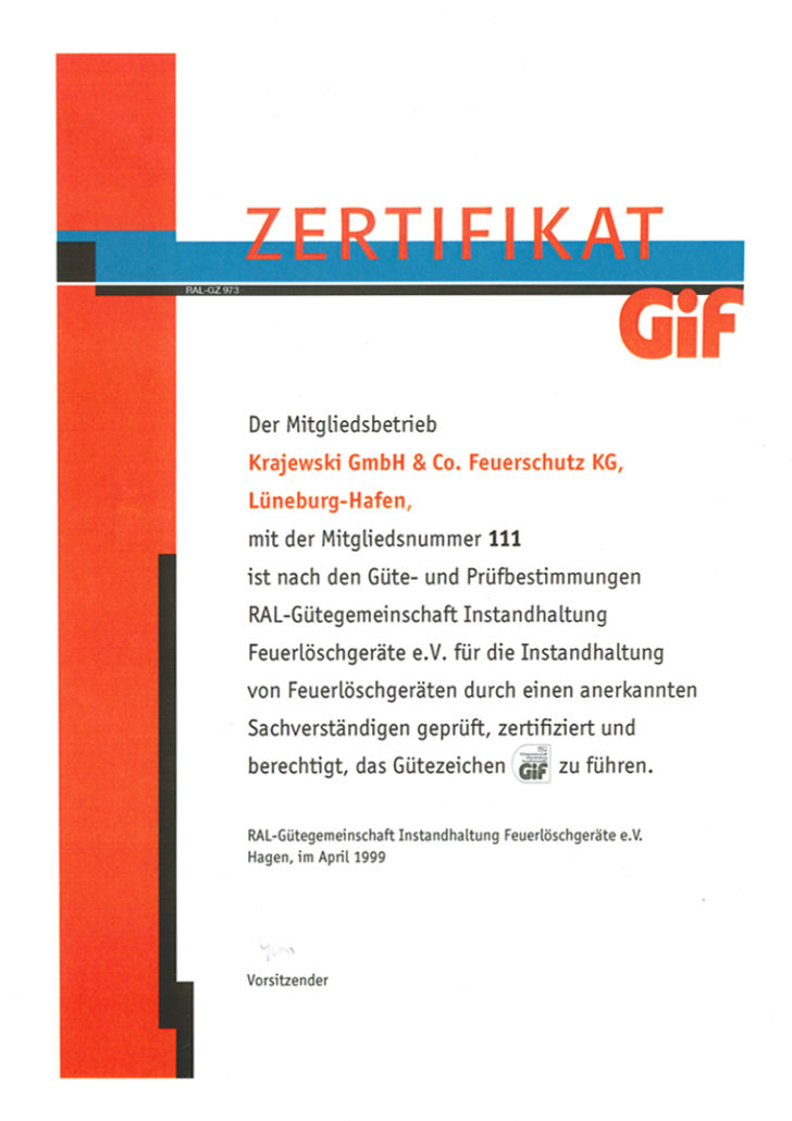 Zertifikat Gif-Gütezeichen